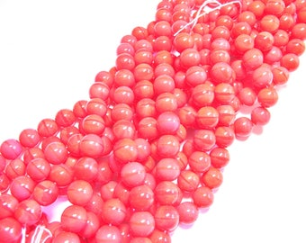 20 ROUND 10 MM BRIGHT CORAL PINK COLOR GLASS BEADS
