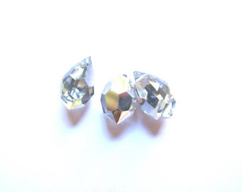 2 9/15 MM SILVER CRYSTAL FACETED CRYSTAL DROPS