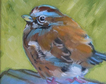 Bird Original Small Oil Painting Nature Song Sparrow 6x6 Summer