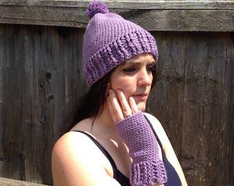 womens purple merino wool hat and glove set. Lilac bobble hat. Crochet fingerless gloves. Ready to ship.