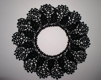 ruffle crochet cotton thread and black shiny