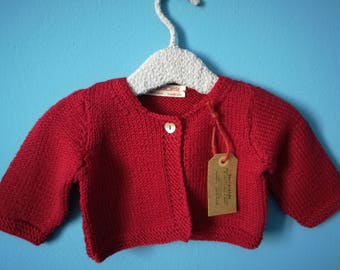 Red Wool Cardigan for newborn 1-3 months