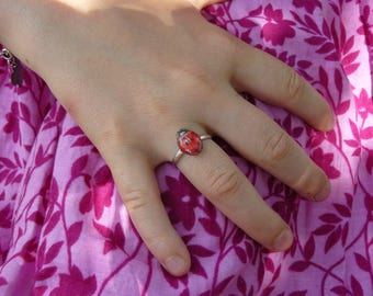 Little Ladybug resin Adjustable ring for children