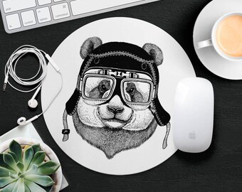 Grizzly Bear Mouse Pad Animal in Glasses Cute Mouse Mat Funny MousePad Kids MousePad Hipster MouseMat Animal Lover Gift Cat Desk Accessories