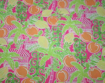 "Lilly Pulitzer fabric ~JUICE BAR~ 2006~Oranges,Palms, Fronds,Beach, Juice Bar~ 18"" by 18""~ 100% cotton"