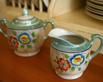 Vintage China Sugar and Creamer Set - Beautiful Flower Design in Sea foam Green, Blues and Oranges in EXCELLENT Condition!
