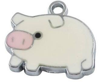 Pig Enamel Charms Pendants (019)