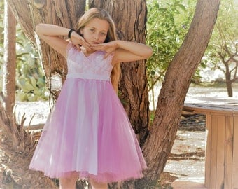 Pink tulle and lace dress for girls - summer twirly soft pink lace and tulle dress - tulle flower girl dress - ballerina dress