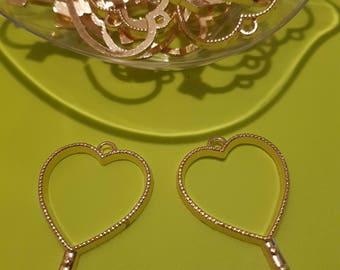 OPEN HEART key pendant BEZEL for resin x 2 pcs