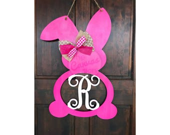 MONOGRAM BUNNY - wood door hanger - sign - hand painted