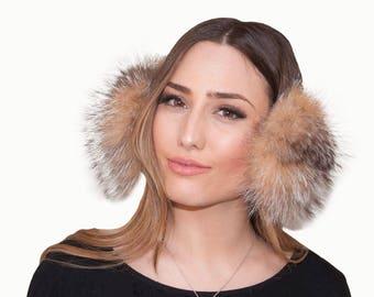 Fur earmuffs, Crystal fox fur earmuffs, Fox fur earmuffs, Rex fur earmuffs, Sheepskin earmuffs. Gift for her