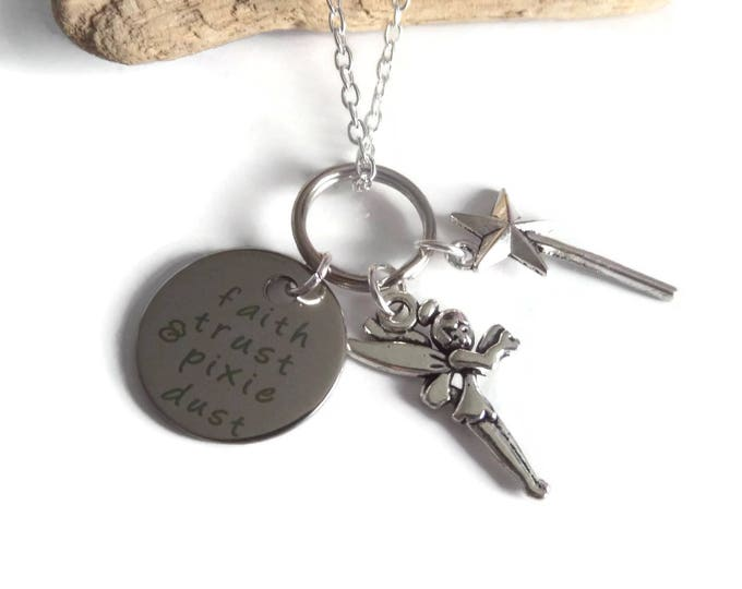 "PETER PAN inspired 20mm silver tone tag "" faith, trust & pixie ...""  tinkerbell Fairy fan gift jewellery Uk"