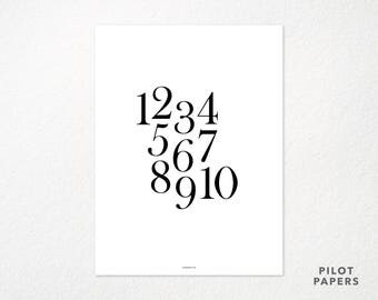 SECONDS numbers typography poster 18x24