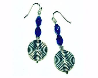 Blue glass and silver dangle earrings