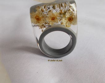 Polyester transparent and grey acrylic resin ring