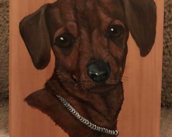 Hand Painted Dachshund(Weiner Dog) on Wood