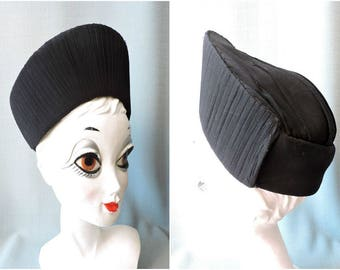 True 1940s turban crepe Georgette has pleats black | 40s Hat Black from light Georgette
