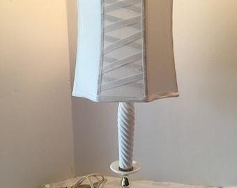 White Silk Lampshade ~ Medium Size ~ Criss Cross Panel Design ~ Glue Drip