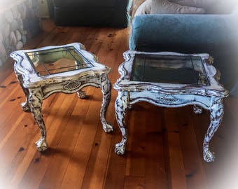 2 Piece, Farmhouse, Antique End Tables, matching set, shabby chic side tables, french country, french provincial, painted, distressed, white