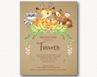 Twins Baby Shower Invitation, Woodland, forest, Animals, Deer, Bear, Owl, Fox, Raccoon, Watercolor, Cute, Unique, Kraft, Neutral, Printable,