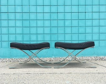 Knoll | Authentic Barcelona Ottoman by Mies Van Der Rohe | Mid Century