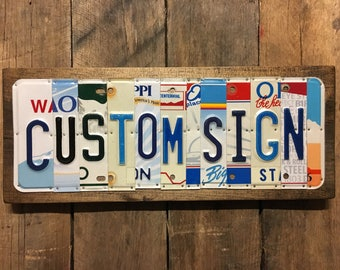 Rustic Sign - Custom License Plate Sign ~ Last Name - Customized Sign ~ Personalized ~ Unique Gift ~ Anniversary Gift - Wedding Gift