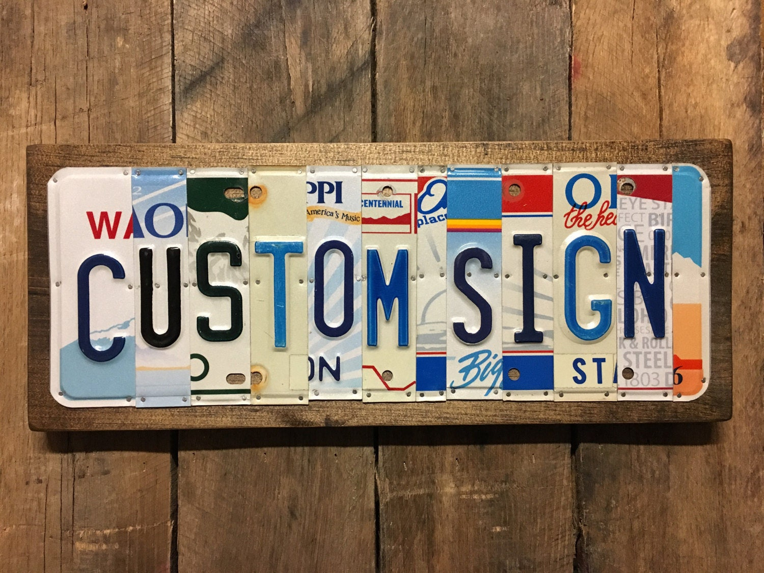 Customized License Plates >> Rustic Sign Custom License Plate Sign Last Name
