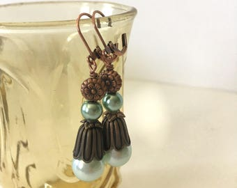 vintage victorian flower bronze copper mint green pearls dangle and drop earrings