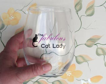 The Fabulous Cat Lady Stemless Wine Glasses