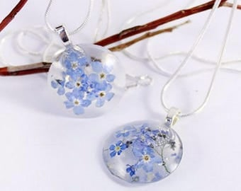 blue flower pendant necklace terrarium jewelry girlfriend gift/for/best friends forget-me-not flower necklace gift/for/her memory gift Рю26