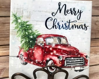 Personalized 6x6 Ceramic Tile with Christmas Truck