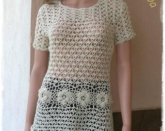 Ladies summer blouse Ecru color crochet / custom