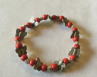 Red turquoise and silver  butterfly bracelet