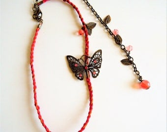 Headband fuchsia Bohemian hippie chic leather and Butterfly bronze.