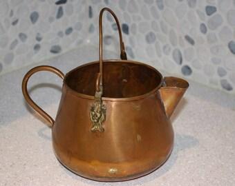 Copper teapot with lion accent copper kettle