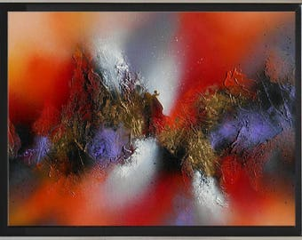 "Framed abstract contemporary textured acrylic painting ""JOURNEY"" Black golden red purple white gray orange tableau abstrait contemporain"