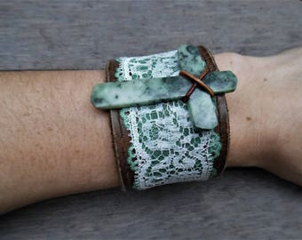 Brown Ivory Turquoise Green Jade Cross Lace Upcycled Leather Cuff Bracelet