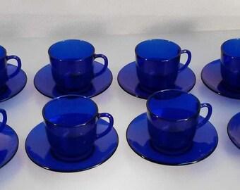 Vintage Cobalt Blue Glass Cups and Saucers - 8 Sets!
