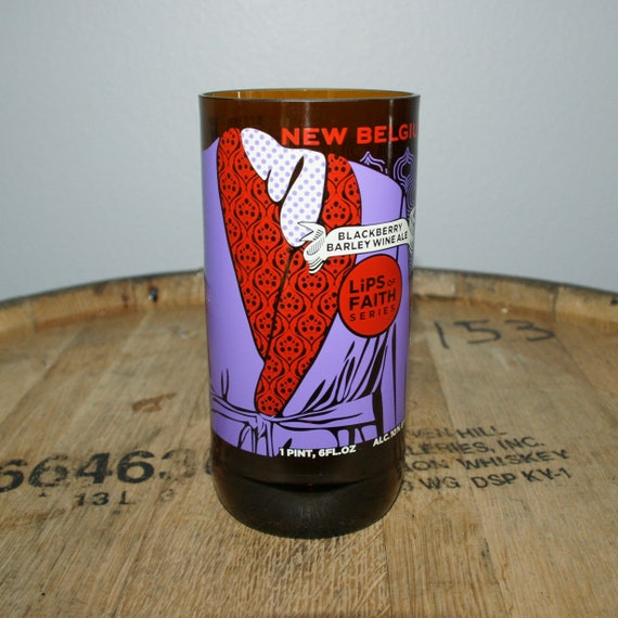 UPcycled Pint Glass - New Belgium - Lips of Faith Blackberry Barleywine Ale