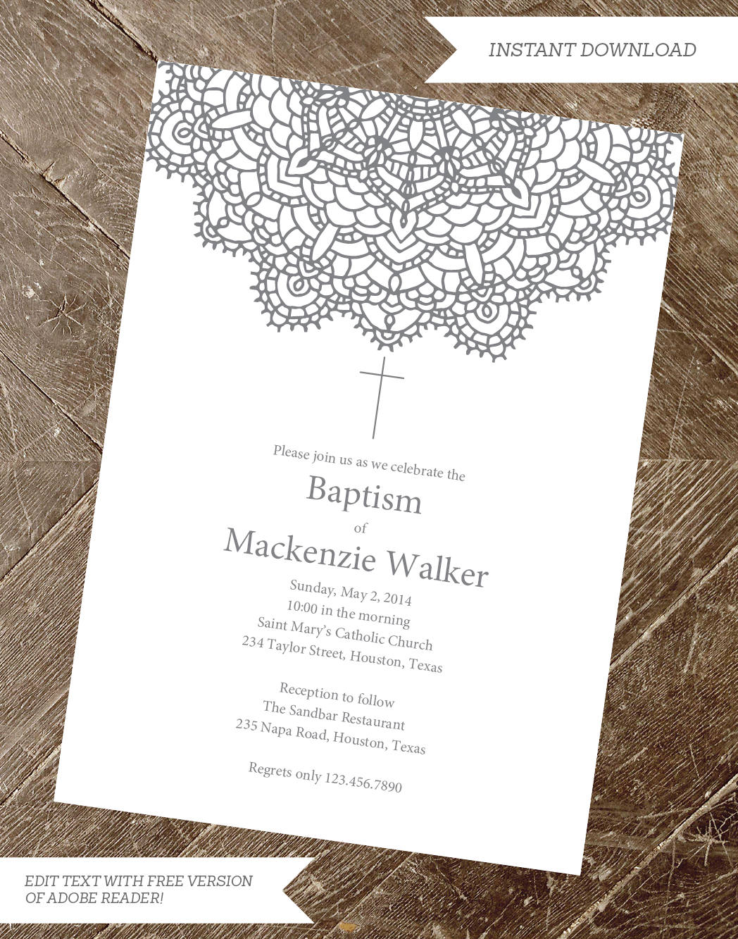 Baptism Invitation   Christening Invite Printable   Printable ...