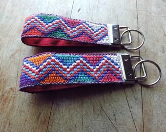 Fabric Keychain, Key Fob Wristlet, Fob Key, Wristlet Keychain, Key Lanyard, Tribal Key Chain, Mini