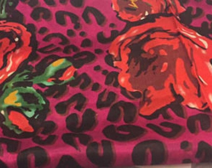 Silk Scarf, Silk Wrap, Purple/Dark Pink, Magenta Background with Black Designs, 72 x 33 inches