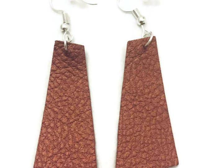 Leather Earrings, Copper Faux Leather Earrings, 2 inches long, Silver Earring Wires, Geometric Leather Earrings, Rectangular Leather Earring