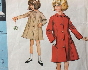 McCall's 8015 vintage 1960's girls princess-seamed coat sewing pattern size 8