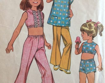 McCall's 9730 girls pants, shorts, top & cover-up size 5 vintage 1960's sewing pattern