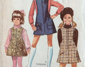 Simplicity 8375 girls jumper and pantjumper size 10 vintage 1960's sewing pattern