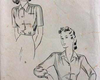 Butterick 2136 misses blouse size 16 bust 34 vintage 1940's sewing patternq