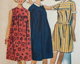 McCall's 7120 misses & juniors smock dress size small size 9-10-11 vintage 1960's sewing pattern