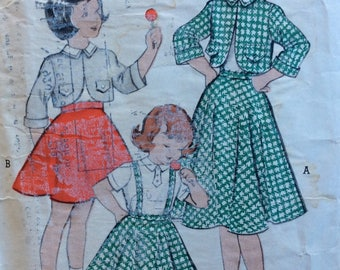 Butterick 6029 girls bolero jacket, skirt & blouse size 6 vintage 1950's sewing pattern