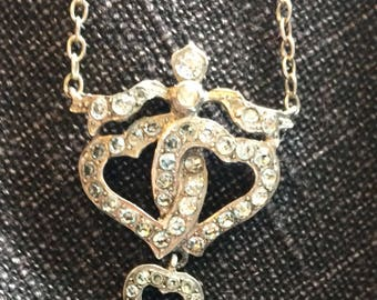 Antique Silver & Paste Entwined Hearts Pendant
